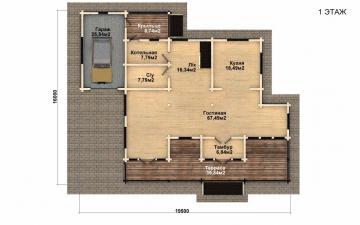 Фото #2: деревянный дом ПДБ-40 из клееного бруса купить за 13232000 (цена «Под ключ»)
