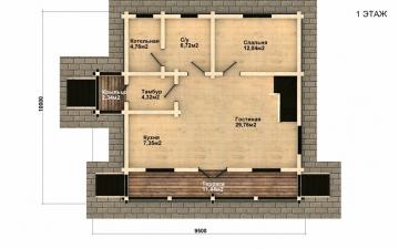 Фото #2: деревянный дом ПДБ-33 из клееного бруса купить за 9467000 (цена «Под ключ»)