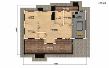 Фото #5: деревянный дом ПДБ-41 из клееного бруса купить за 12685000 (цена «Под ключ»)