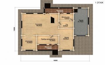 Фото #4: деревянный дом ПДБ-43 из клееного бруса купить за 14446000 (цена «Под ключ»)