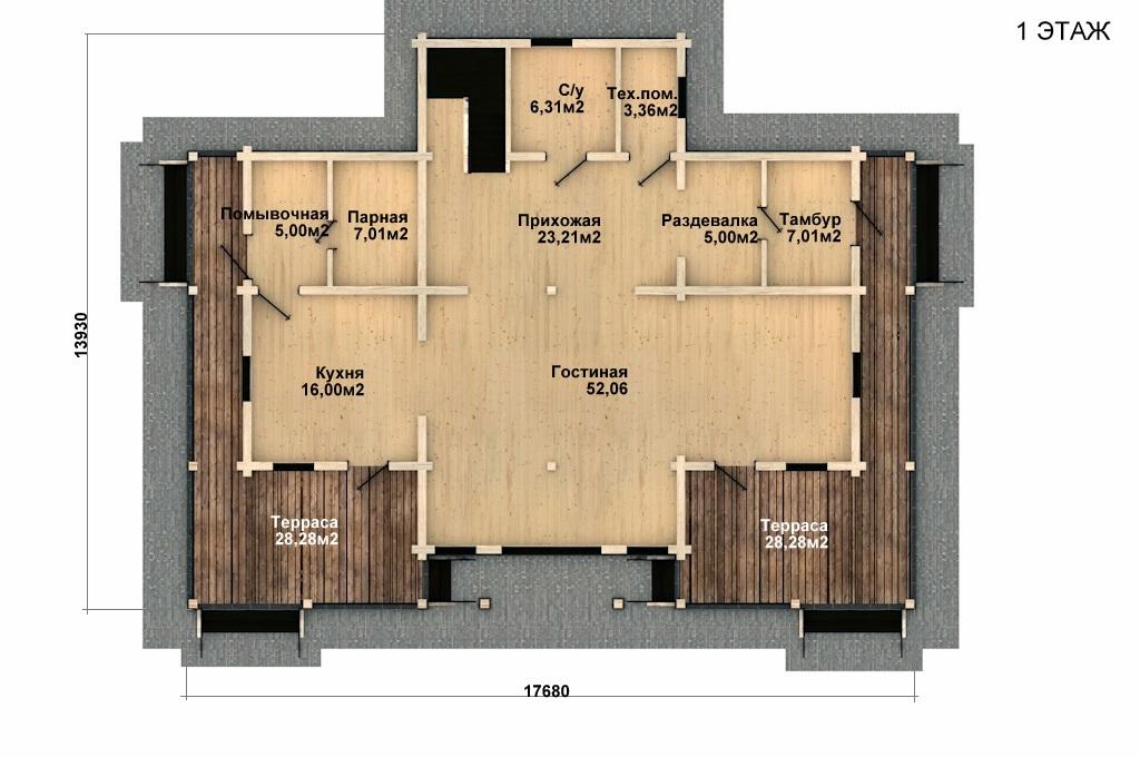 Фото #2: деревянный дом ПДБ-44 из клееного бруса купить за 14702000 (цена «Под ключ»)