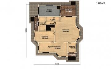 Фото #2: деревянный дом ПДБ-46 из клееного бруса купить за 17082000 (цена «Под ключ»)