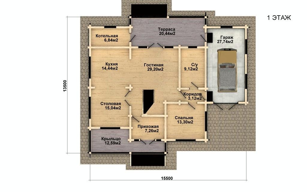 Фото #4: деревянный дом ПДБ-36 из клееного бруса купить за 14352000 (цена «Под ключ»)