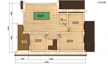 Фото #3: деревянный дом ПДБ-58 из клееного бруса купить за 10721000 (цена «Под ключ»)
