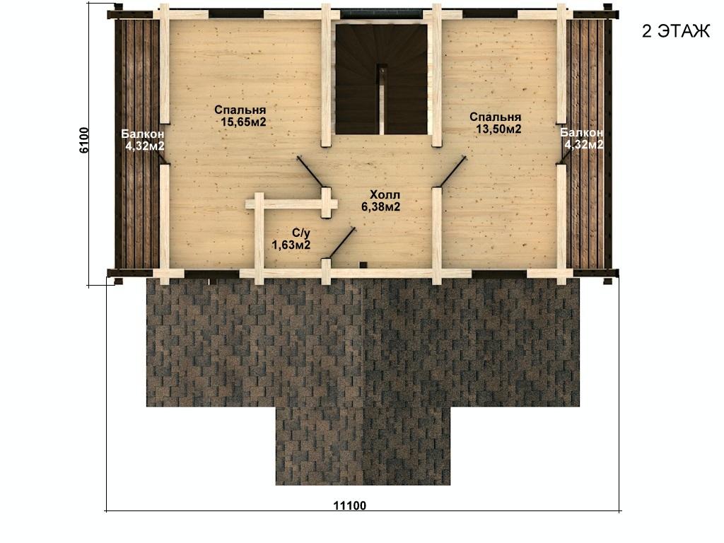 Фото #3: деревянный дом ПДБ-47 из клееного бруса купить за 6464000 (цена «Под ключ»)