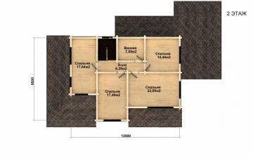 Фото #3: деревянный дом ПДБ-37 из клееного бруса купить за 14135000 (цена «Под ключ»)