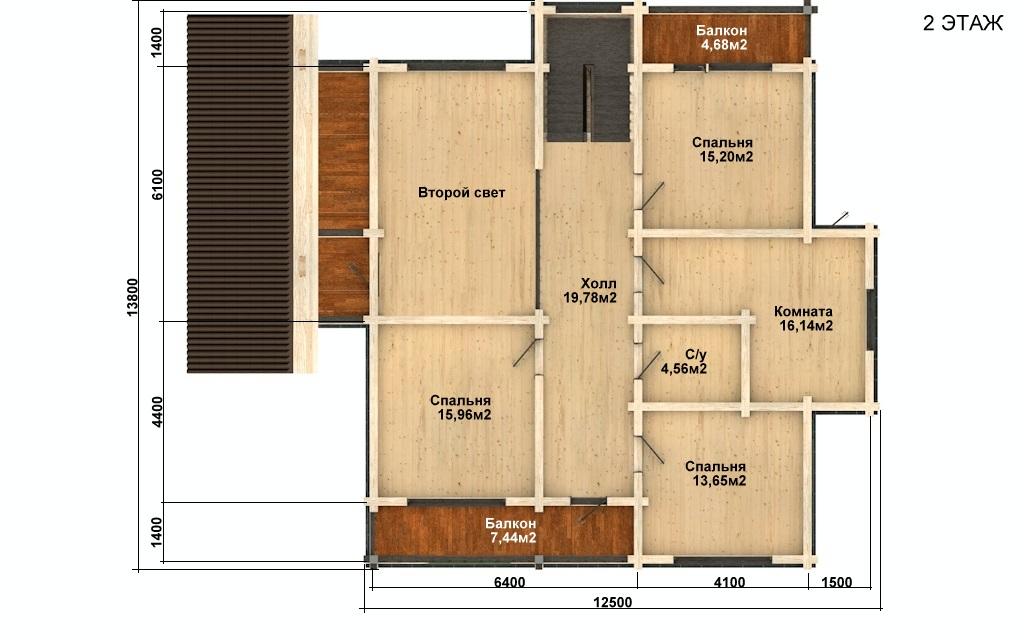 Фото #5: деревянный дом ПДБ-55 из клееного бруса купить за 11957000 (цена «Под ключ»)