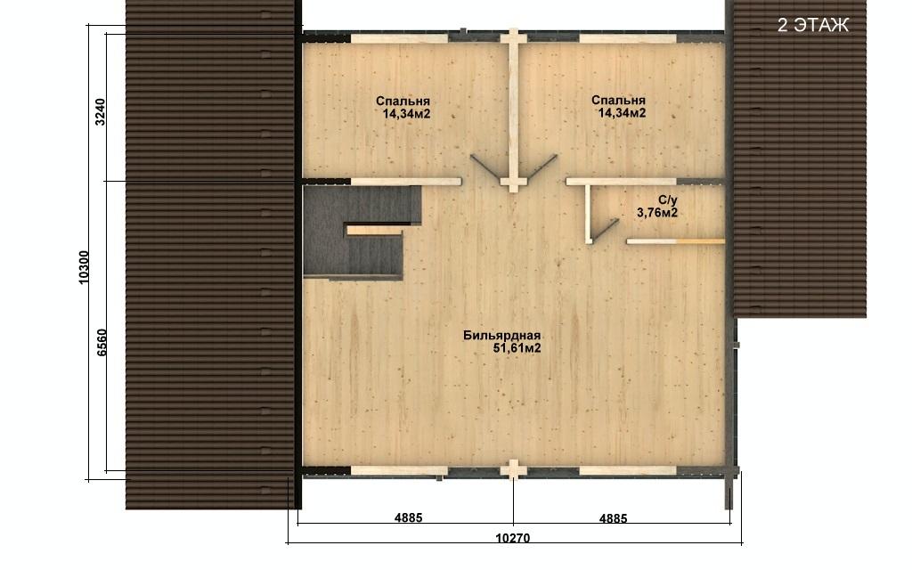 Фото #3: деревянный дом ПДБ-57 из клееного бруса купить за 7043000 (цена «Под ключ»)