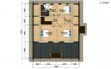 Фото #5: деревянный дом ПДБ-59 из клееного бруса купить за 10102000 (цена «Под ключ»)
