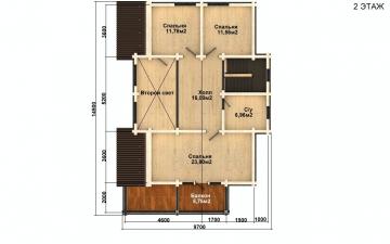 Фото #3: деревянный дом ПДБ-60 из клееного бруса купить за 10456000 (цена «Под ключ»)