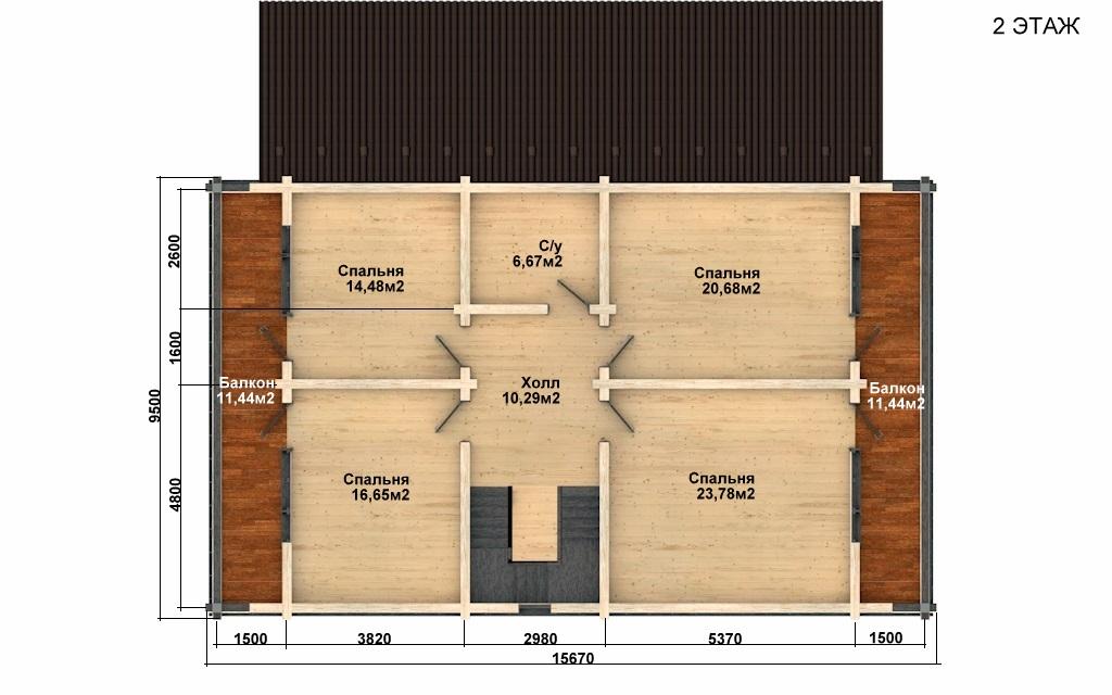 Фото #3: деревянный дом ПДБ-62 из клееного бруса купить за 10084000 (цена «Под ключ»)