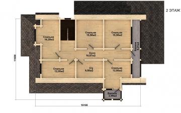 Фото #5: деревянный дом ПДБ-38 из клееного бруса купить за 15922000 (цена «Под ключ»)