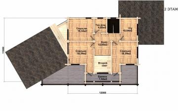 Фото #3: деревянный дом ПДБ-39 из клееного бруса купить за 15784000 (цена «Под ключ»)