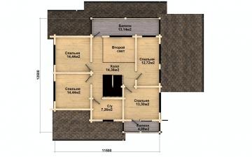 Фото #5: деревянный дом ПДБ-36 из клееного бруса купить за 14352000 (цена «Под ключ»)