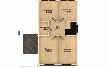 Фото #3: деревянный дом ПДБ-48 из клееного бруса купить за 4465000 (цена «Под ключ»)