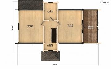 Фото #5: деревянный дом ПДБ-49 из клееного бруса купить за 9892000 (цена «Под ключ»)