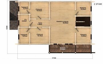 Фото #5: деревянный дом ПДБ-50 из клееного бруса купить за 14985000 (цена «Под ключ»)