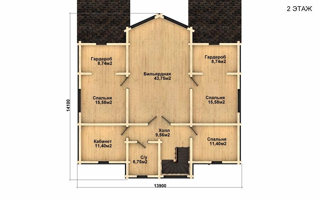 Фото #3: деревянный дом ПДБ-51 из клееного бруса купить за 15974000 (цена «Под ключ»)