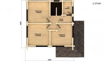 Фото #5: деревянный дом ПДБ-35 из клееного бруса купить за 8016000 (цена «Под ключ»)