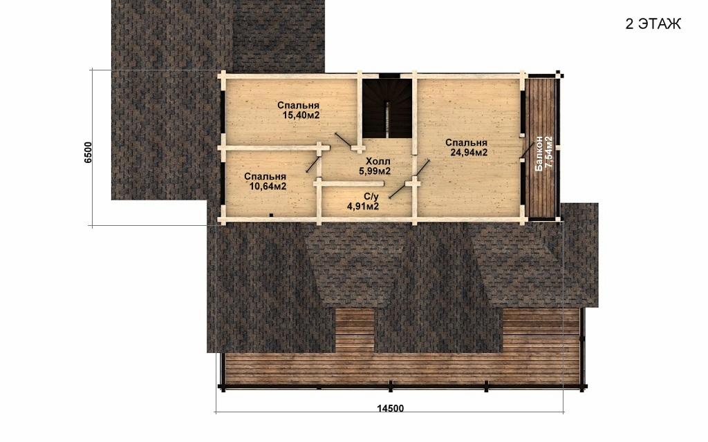 Фото #3: деревянный дом ПДБ-40 из клееного бруса купить за 13232000 (цена «Под ключ»)