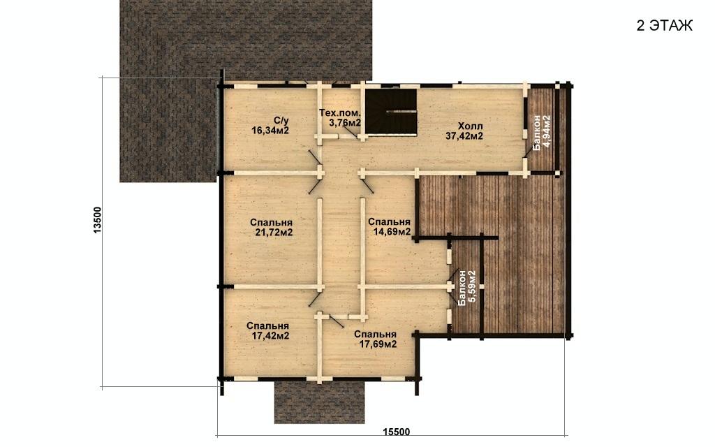 Фото #3: деревянный дом ПДБ-42 из клееного бруса купить за 17628000 (цена «Под ключ»)