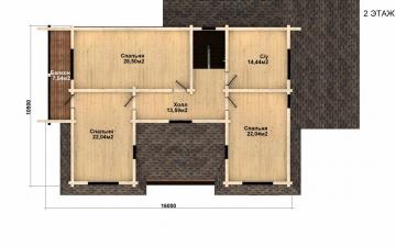 Фото #5: деревянный дом ПДБ-43 из клееного бруса купить за 14446000 (цена «Под ключ»)