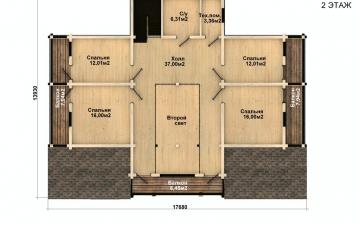 Фото #3: деревянный дом ПДБ-44 из клееного бруса купить за 14702000 (цена «Под ключ»)