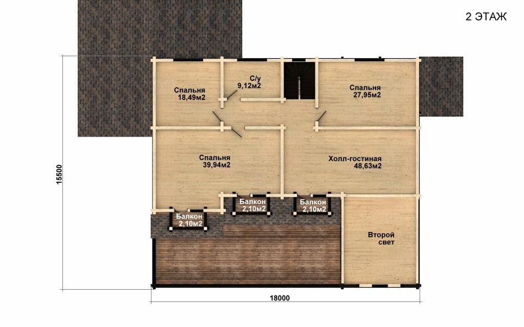 Фото #5: деревянный дом ПДБ-45 из клееного бруса купить за 18689000 (цена «Под ключ»)