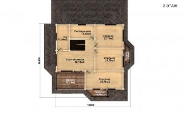 Фото #3: деревянный дом ПДБ-46 из клееного бруса купить за 17082000 (цена «Под ключ»)