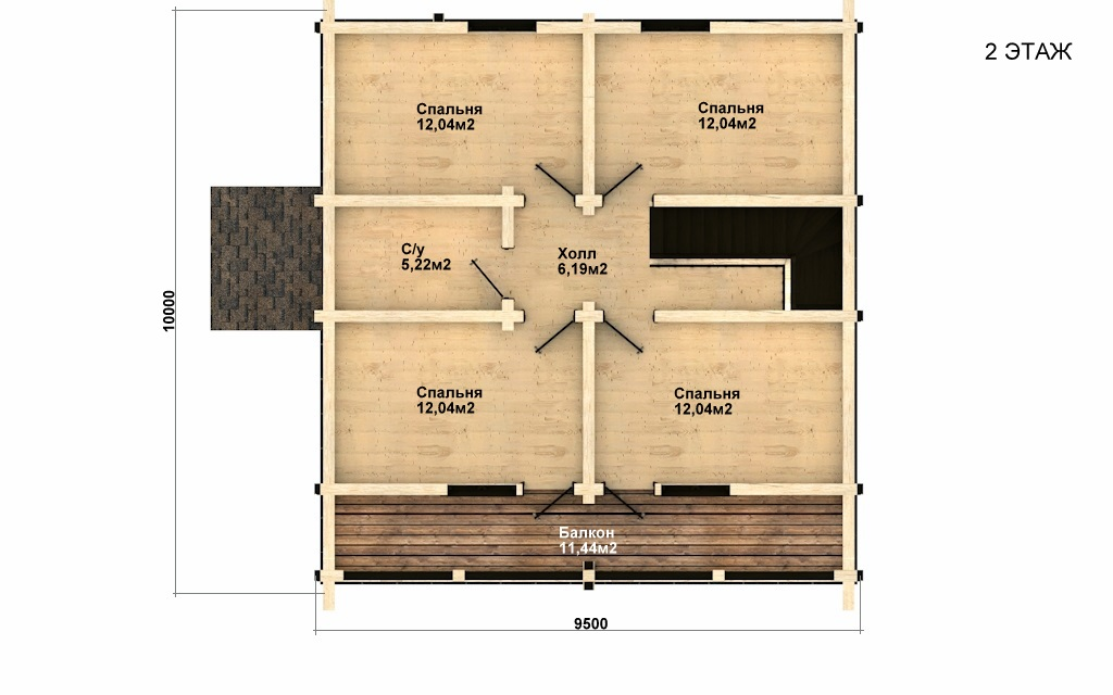 Фото #3: деревянный дом ПДБ-33 из клееного бруса купить за 9467000 (цена «Под ключ»)