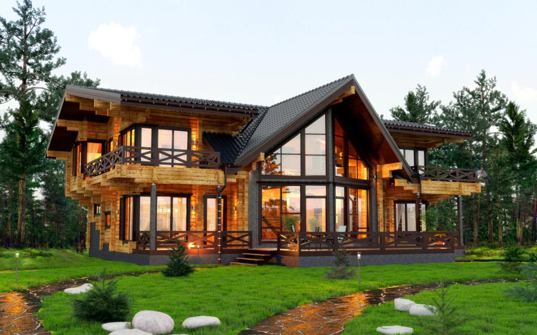 Дом из клееного бруса снаружи
