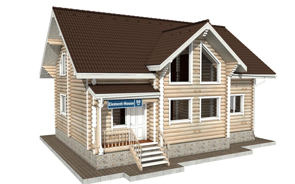 РС-50 - Проект дома из бревна с мансардой