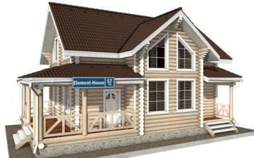 Фото #1: Красивый деревянный дом РС-57 из бревна