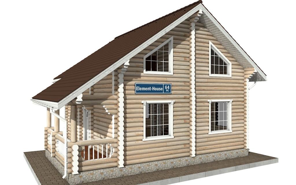 Фото #1: Красивый деревянный дом РС-64 из бревна