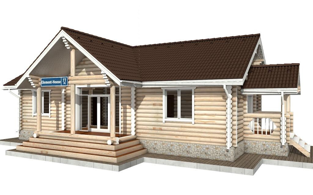 Фото #1: Красивый деревянный дом РС-77 из бревна