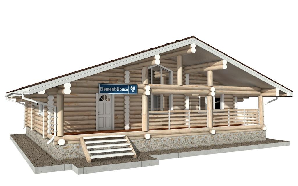 РС-80 - деревянный дома из бревна (из сруба)
