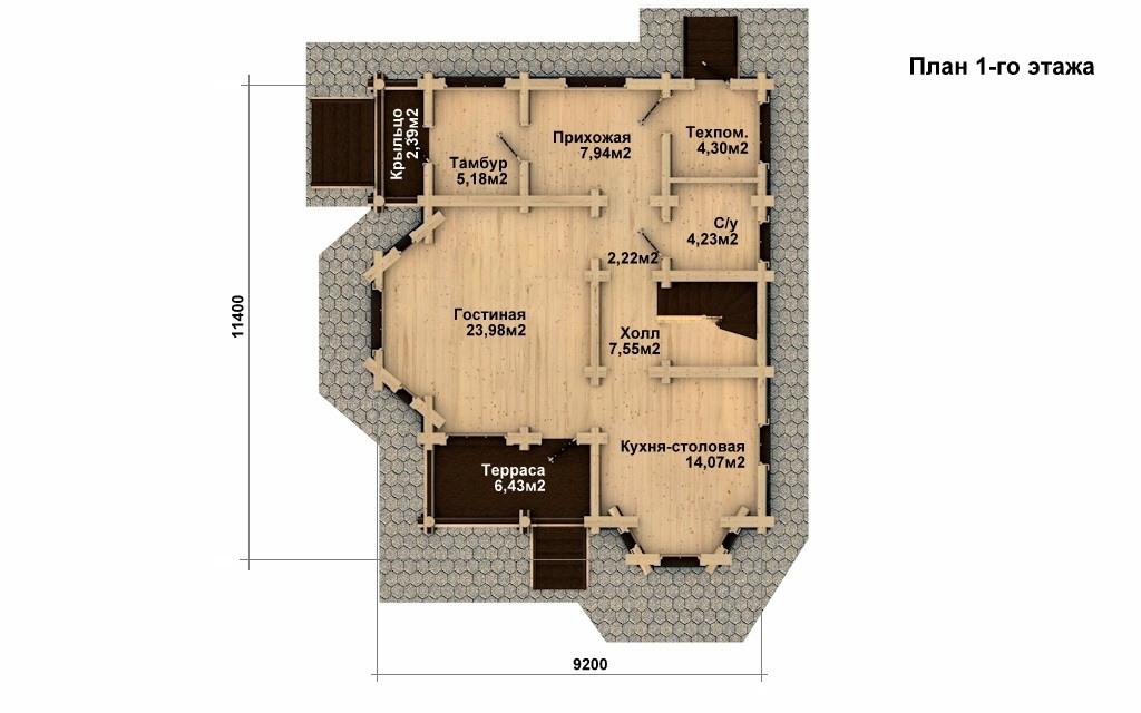 Фото #4: Красивый деревянный дом РС-7 из бревна