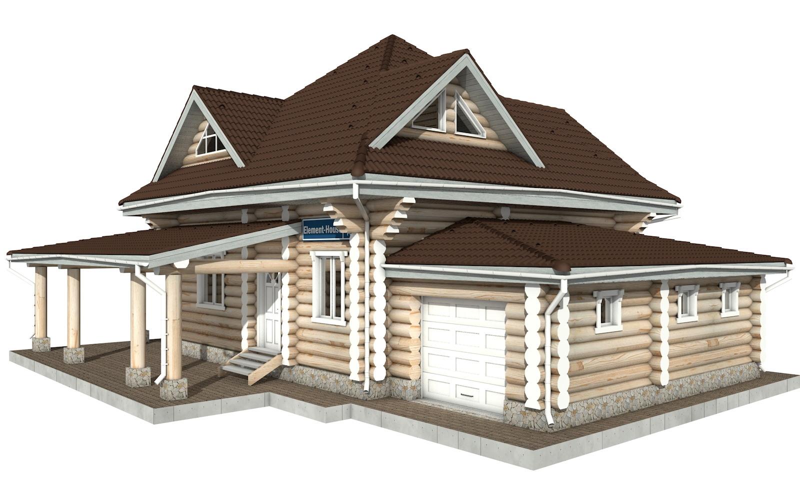 РС-112 - Проект дома из бревна с мансардой