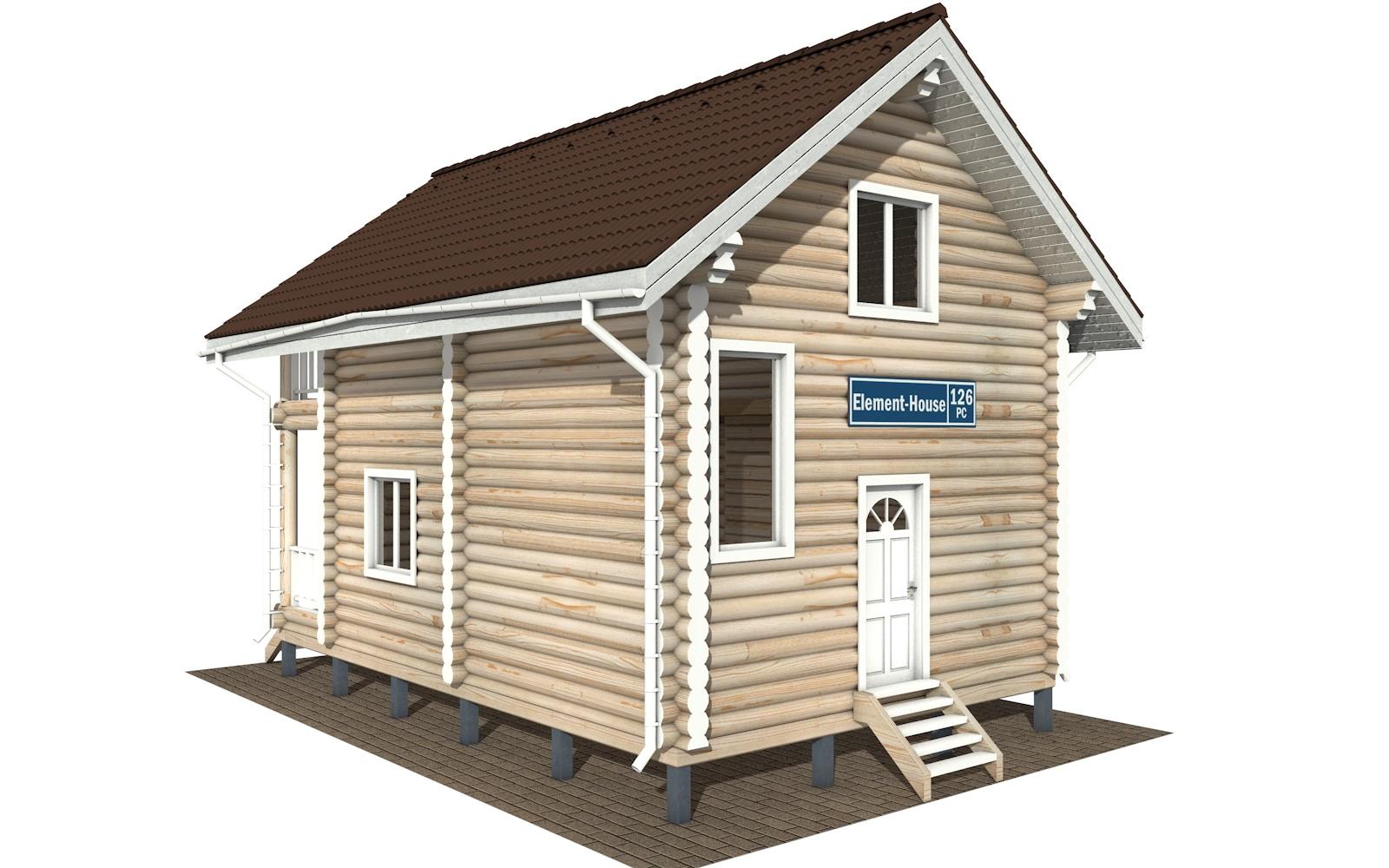 РС-126 - Проект дома из бревна с мансардой