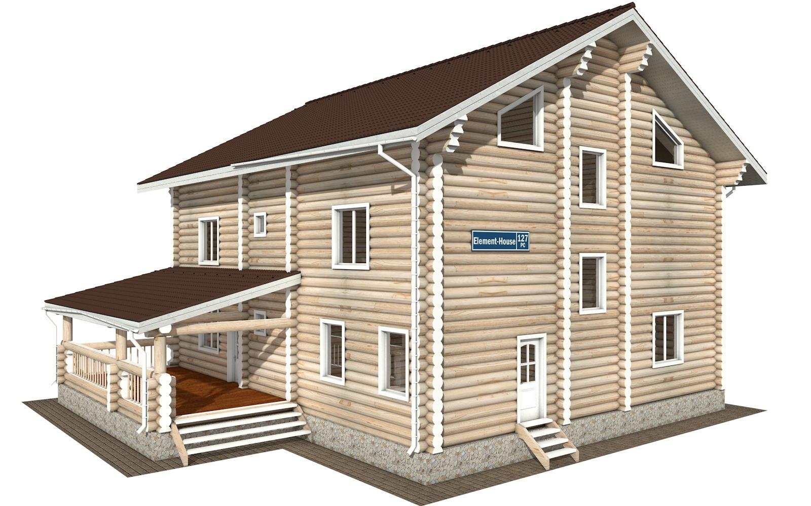 Фото #1: Красивый деревянный дом РС-127 из бревна