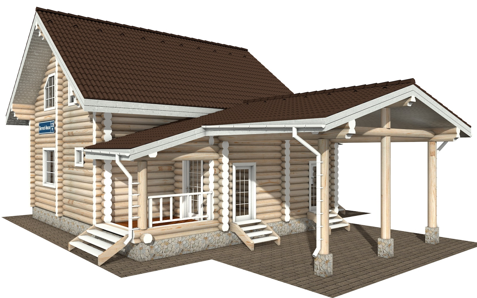 РС-128 - Проект дома из бревна с мансардой