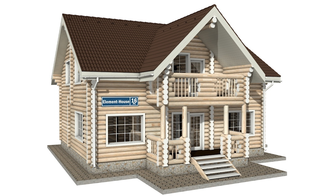 Фото #1: Красивый деревянный дом РС-16 из бревна