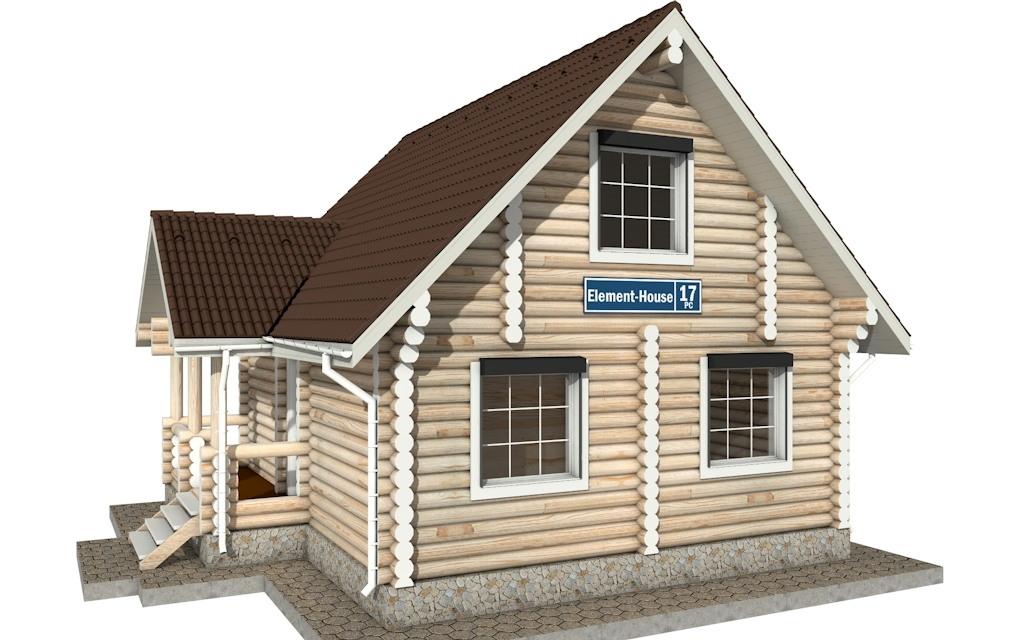 Фото #1: Красивый деревянный дом РС-17 из бревна