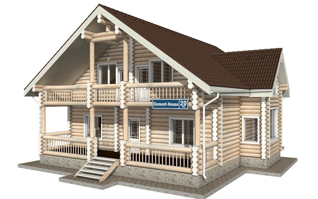 РС-20 - Проект дома из бревна с мансардой