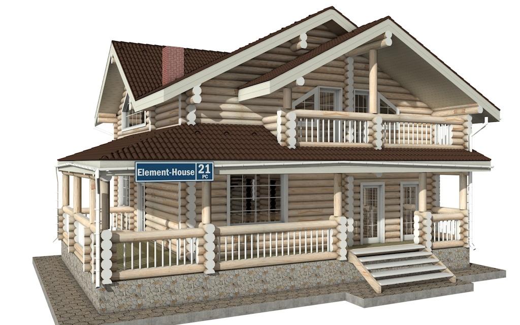 РС-21 - Проект дома из бревна с мансардой