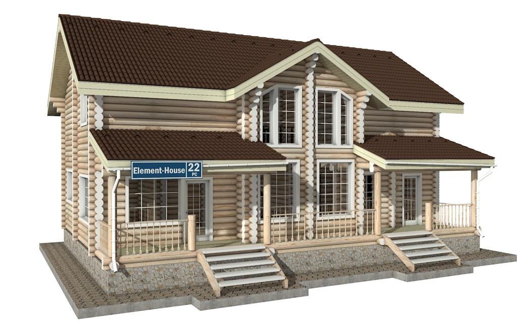 РС-22 - Проект дома из бревна с мансардой