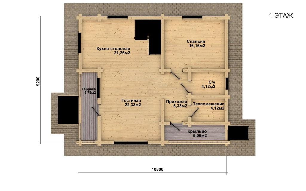 Фото #4: Красивый деревянный дом РС-25 из бревна