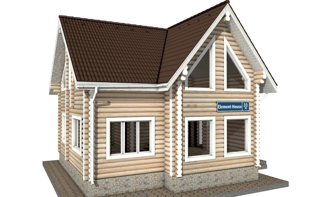 РС-33 - Проект дома из бревна с мансардой
