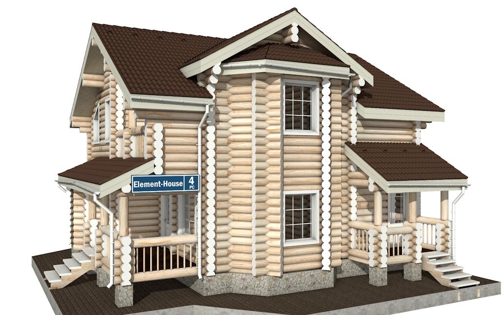РС-4 - Проект дома из бревна с мансардой