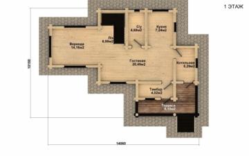 Фото #4: Красивый деревянный дом РС-36 из бревна